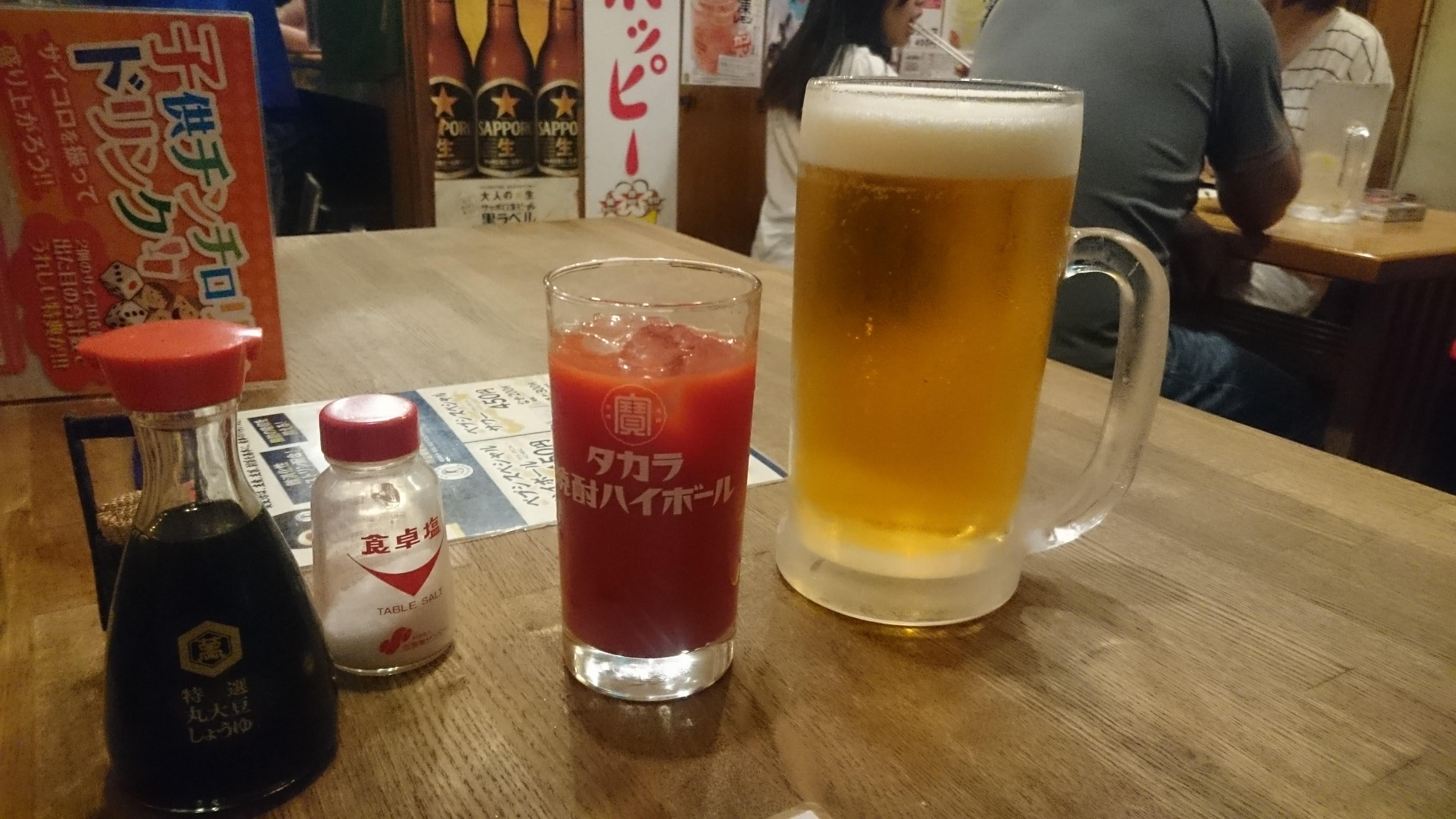ビールとジュース